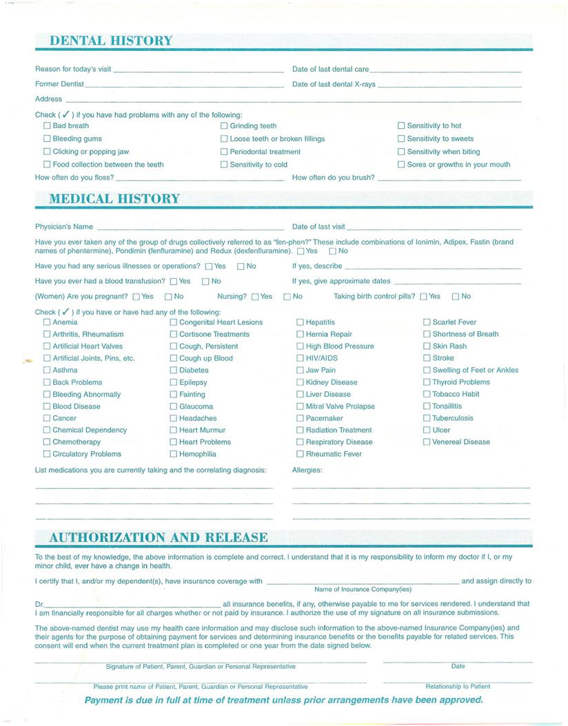 Dentists Stringer and Mullen: New Patient Forms - PearlFection ...